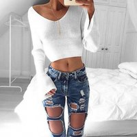Wholesale New Solid White Casual Loose Short Slim Women Knitted Sweaters V Neck Sexy Off Shoulder Pullovers Thin Jumpers Crop Tops