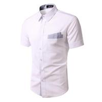 Wholesale Spring new arrive fashion Plaid button pocket slim Men s shirts short sleeve mens shirts Casual Shirts