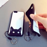 Wholesale freeshipping beautiful silicone All Inclusive Apple iPhone6 iPhone6 plus little black cat and lanyard phone shell protective sleeve