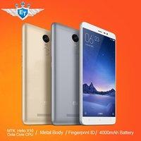 Wholesale Original Xiaomi Redmi Note FDD Cell Phone MTK Helio X10 Octa Core MIUI7 Fingerprint Metal Body GB RAM GB ROM mAh
