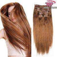 El clip brasileño 7a en cabello lleno de las extensiones 16 del pelo humano del color del pelo humano del pelo de las extensiones onduladas negras del clip libera el envío DHL UPS