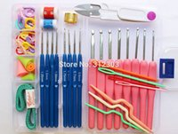 basic aluminum - Basic Yarn Sewing Knit Tools Set sizes Colorful Crochet hooks Needles Stitches Knitting Craft Case Crochet Set With Case