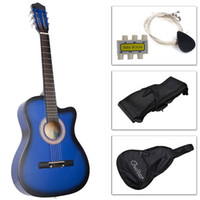 Wholesale New Beginners Acoustic Guitar With Guitar Case Strap Tuner and Pick blue