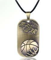 antique leather basketball - Antique Sunspots basketball stainless steel pendant with leather strap dogtag pendant necklace