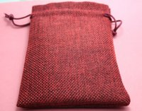 Wholesale 50pcs x14cm wine colour Jute Bag Drawstring Gift Bag Incense Storage Linen Bag Cosmetic Jewel Accessories Packaging Bag