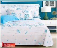 Wholesale hot sale pure cotton blue flower queen size bed sheet cover