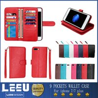 Wholesale Card Cash Wallet - For iphone 7 Wallet Case iphone 7 plus PU leather cases with photo frame 9 cash slot credit card pocket with stand iphone 6 6s plus s7 edge