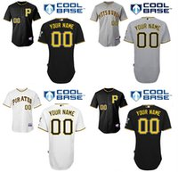 Wholesale Custom Pirates Jersey Baseball Personalized Pittsburgh Pirates Jerseys Black Grey Double Stitched Top Quality Any Name Number