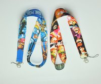 Universal Lanyard Nylon Lot 60 Pcs Anime One Piece Mobile Phone lanyard Keychain straps charms Gifts