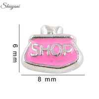 alloy shopping - Enamel Charms Pendant for DIY Bracelet Pink Shop Floating Locket Charms for Locket Necklaces Silver Plated
