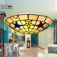 artistic style - Tiffany ceiling light Country Style star artistic multicoloured glass Creative flush mount ceiling lamp bedroom living room kitchen corridor