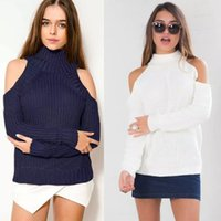 Wholesale Turtle Neck Off Shoulder Sexy Pullover Sweater Women Tricot Jumper Pull Femme Autumn Fashion Knitted Top Women Clothing FS0688