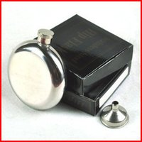 Wholesale 5 OZ Mirror Smooth Men Portable Stainless Steel Portable Round Flagon Small Funnel Hip Flasks hip flask with funnel BY DHL