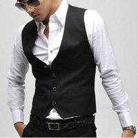 Wholesale 2016 new arrival men dress vest leisure vest men built boxy business jacket tops three buttons bespo