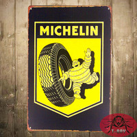 advertisement posters - Tin signs Michelin Tire Advertisement Garage Pub Bar Home Hanging Poster Wall Decor