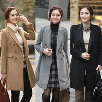 Wholesale Womens Wool Cashmere Overcoat Slim Fit Double Breasted Trench Coat Winter Long Blazer Jacket Black Grey Khaki Outwear