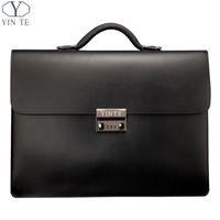attache case women - YINTE Leather Black Bag Men s Briefcase Big And Thicker Attache Case Business Messenger Shoulder Lawyer Bag Men s Totes T8191
