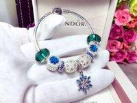 accessories spheres - 925 Sterling Silver Jewelry blue crystal accessories silver jewelry Accessories DIY Micro Pave Diamond sphere blue snowflake pendant bracel