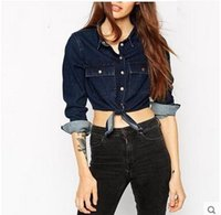 Wholesale 2016 Autumn new fund Europe and the United States with sexy short umbilical knot with double denim shirt pocket