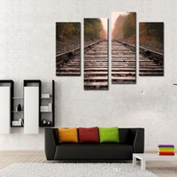 Wholesale 4 Panel Wall Art Red Old Rail Painting The Picture Print On Canvas Car Pictures For Home Decor Decoration Gift piece