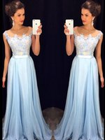 Wholesale Unique Light Blue Prom Dresses A Line Applique Beaded Satin Sash Chiffon Evening Party Gowns For Teens Formal