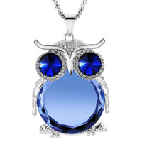 Wholesale New Vintage Owl Necklace Rhinestone Crystal Silver Popcorn Chain Long Pendant Necklaces Handmade Fashion Charm Jewelry For Women