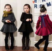Wholesale New Hot Sale Good quality Girls Winter Dresses Sweet Autumn Winter Long sleeve Children Bowknot Dress For Party Kids Clothing MC0382