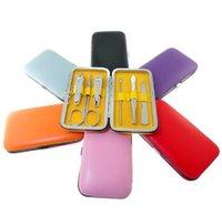 Wholesale 6 Nail Clippers Kit Scissors Tweezer Knife Ear pick Utility Manicure Set Tools Random Colors ak074