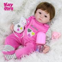 baby doll wigs - Soft Silicone Vinyl Dolls inch cm Doll Reborn Baby Brown Wig Girl Handmade Cotton Body Lifelike Bebe juguetes Babies Toys