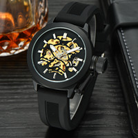 best skeleton watches - Luxury Mechanical Watches Men s Stainless Steel Skeleton Mechanical Watch Gold Dial Mechanical Business Watch Best Gift