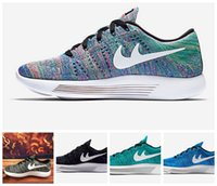 Wholesale 2016 Unisex Men Women Athletic Cheap LunarEpic Low Flyknitted Running Sneaker Shoes Black White Blue Grey Red