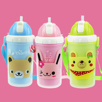 Wholesale Hot Sales Cartoon Child Water Bottle Straw Cup Outdoor Travel Milk Bottle Kids Water Container Portable Leak Proof Plastic Bottles JD0066