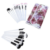wood flower - Professional set Makeup Cosmetics Brushes Set Kits with Flower Pattern Case black pink Makeup brush