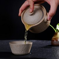 Wholesale Porcelain Retro Stoneware Vintage Kung Fu Tea Cup Ceramic Pot Cups With Fliter