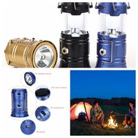 Wholesale Portable Camping Light Collapsible Solar USB Outdoor Rechargeable Camping Lantern Light LED Hand Lamp New Outdoor Lighting LJJK510