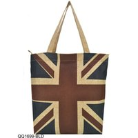 america shopper - High Quality Linen Tote Bags Women Handbags Vintage Eiffel Tower Union Jack America Flag Shopper Bag QQ1699