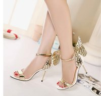animal print dress shoes - Ladies Model show shoes Fashion Butterfly Wing Hot Sellling Buckle strap Peep Toe Nigh club thin high Metal heels Sandals Women Party Pumps