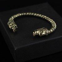 al por mayor viking regalos-La nueva pulsera de la cabeza del lobo del diseño dos dirigió la joyería para hombre de la pulsera del hombre de la insignia de Fenrir Viking del lobo para el mejor regalo de los ventiladores