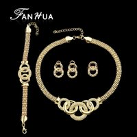 Wholesale Luxuriant Jewelry Sets Gold Plated Geometric Circle with White Rhinestone Contained Necklace Earring Bracelet And Ring