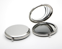 Wholesale Silver Compact Mirror Blank Round mm Cosmetic Pocket Magnifying Mirror Gift Favors M065P DROP SHIPPING