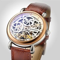 Wholesale GUANQIN Top Brand Luxury Tourbillon Automatic Mechanical Watches Men Leather Hollow Military Skeleton Watch Casual Clock hours