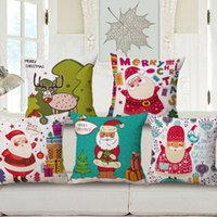 Wholesale Christmas Theme Throw Pillow Cover Santa Clause Decorative Cotton Linen Blend Throw Pillow Case Cushion Shell