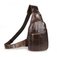Wholesale Vintage Oil Wax Cowhide Chest Pack Crossbody Bag Genuine Leather Men Bag Day Pack C