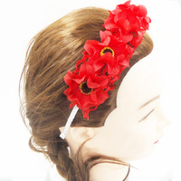 Wholesale Lily and lace flower Hairband for Brid wedding headwear Girl taking photo six color PVC box