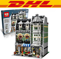 Wholesale DHL Lepin City Street Creator Green Grocer Model Building Kits Minifigure Blocks Bricks Compatible