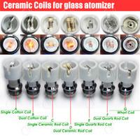 Wholesale Ceramic Atomizers - Top Quartz Ceramic Cotton replacement atomizer dual glass globe coils Donut wax dry herb Herbal vaporizers vape pen e cigarettes vapor core