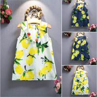 Cheap 2 Color Girl Summer Lemon bowknot Sling Dress Children Cartoon Print sleeveless vest Lemon leaf princess dresses B001