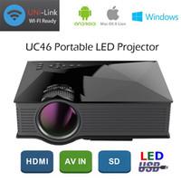 al por mayor vga digital-2016 Nuevo Centro de Información de UC46 proyector LCD 1200 lúmenes 2.4G WiFi LED portátil de cine en casa Cine Multimedia 1080P USB / SD / AV / HDMI / VGA / IR UC40