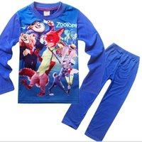 Wholesale 2016 new children s clothing tracksuit ZOOTOPIA crazy animal city children Pyjamas HJIA715