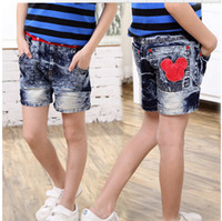 Wholesale New promotional Korean boy scout summer Mickey jeans denim shorts washed denim clothing
